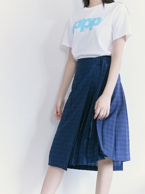 Big Pocket Pleats Wrap Skirt  Blue (KE1227M03P)