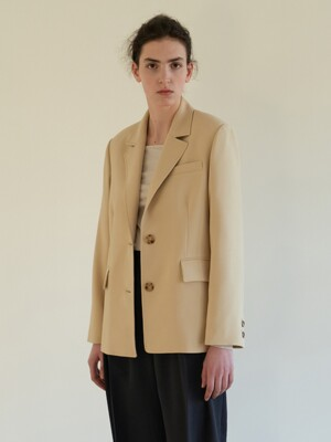 TOS STITCH NOTCHED COLLAR BLAZER Y-BEIGE