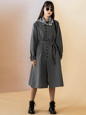 Double Line Linen Bluish-green Coat