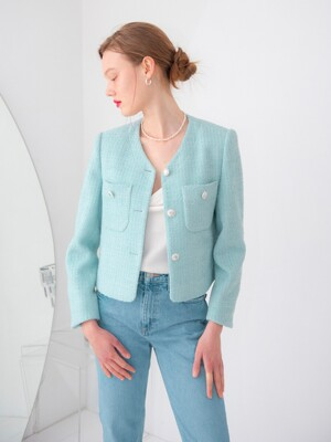 POCKET POINT V-NECK TWEED JACKET_MINT
