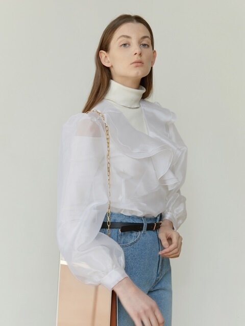 18FW RUFFLED ORGANZA BLOUSE (WHITE)
