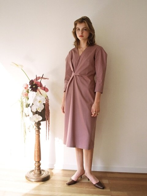NEW DRAPED DRESS DRY ROSE