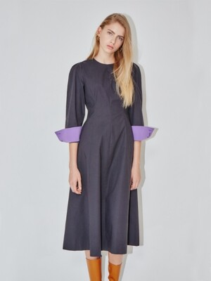 POSITANO  puffed long sleeve dress (Charcole gray & Light purple)