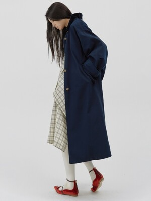 Oversized Reversible long trench coat [French navy]