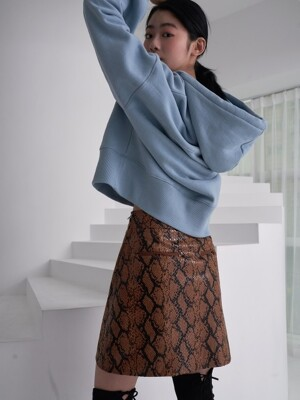 snake pattern skirt_snake brown