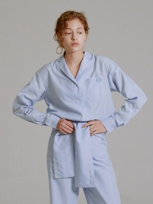 19SS EMBROIDERED PAJAMA SHIRT (SKY BLUE)