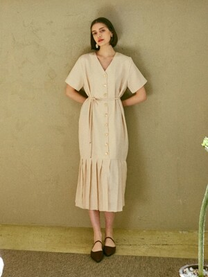 [By Joorti] J178 Pearl-button pleats onepiece (beige)
