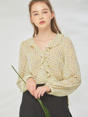 YELLOW SEETHROUGH FLOWER WRAP BLOUSE