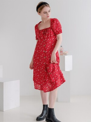 Flower Retro Square-neck Puff Dress