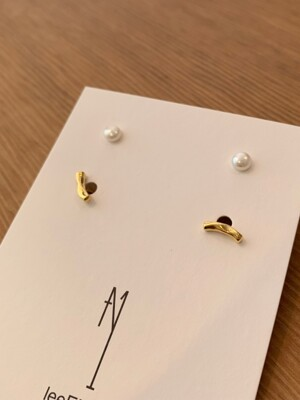 Wave Curve Line & Pearl Set Earring (2color)