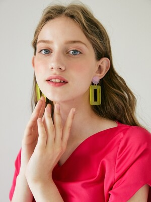 Square Pendant Earring _ Yellow