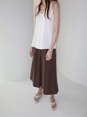 LINEN BLEND PANTS - BROWN