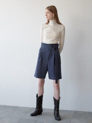 herringbone wool shorts