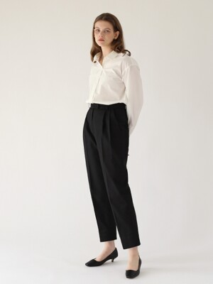 Pleated cotton trousers - Black