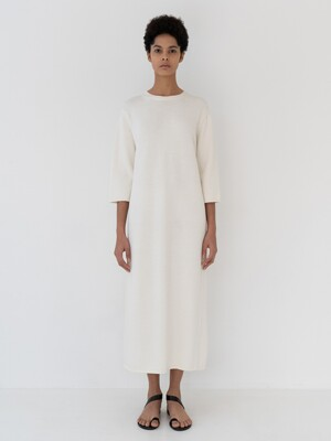 Boxy knit dress [White]