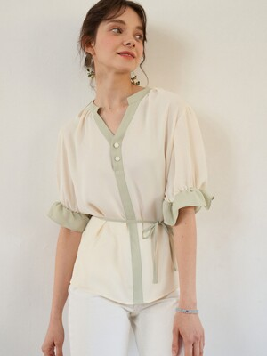 monts 1108 strap volume blouse (ivory)