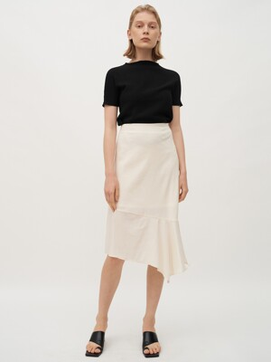 TTR LINEN UNBLANCE FLARE SKIRT 2COLOR