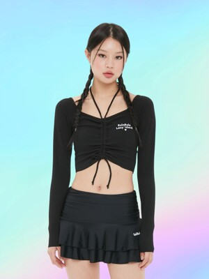 (SW-20388) CROP SHIRRING RASHGUARD BLACK