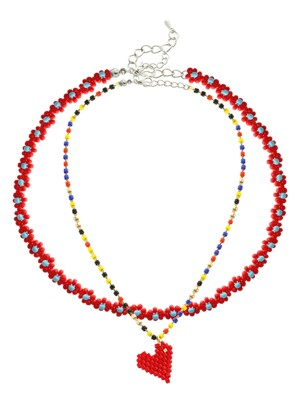 Red Beads Flower Layered Necklace Set