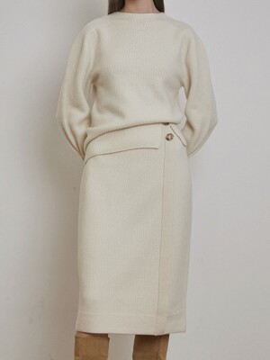 CASHMERE BUTTON DETAILED KNIT SKIRT [BLACK] [IVORY]