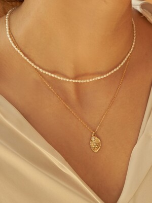 [2SET] Mini oval coin pearl necklace set_SE0131