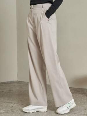 SI PT 7022 One Tuck Side Banding Slacks_Ash beige