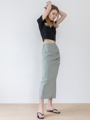 Side Slit Shirring Skirt-Mint