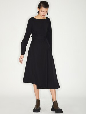 BOAT NECK WRAP DRESS_BLACK