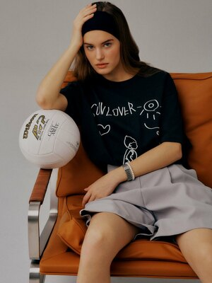[EXCLUSIVE]W EXCLUSIVE_DRAWING HALF T-SHIRT (2 COLORS)