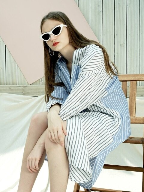 STRIPE LINEN LONG-SHIRT DRESS_WH