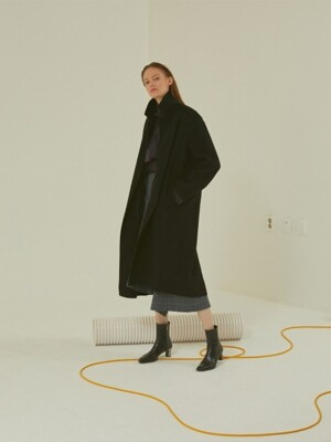 Manet cashmere blended wool coat _ Black