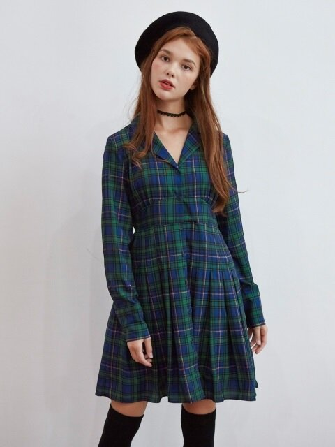 PLEATS POINT CHECK ONEPIECE