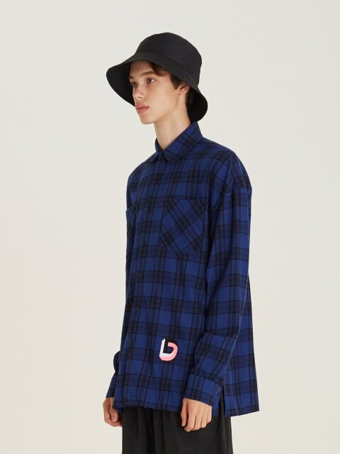 D Embroidery Check Shirts(BL)