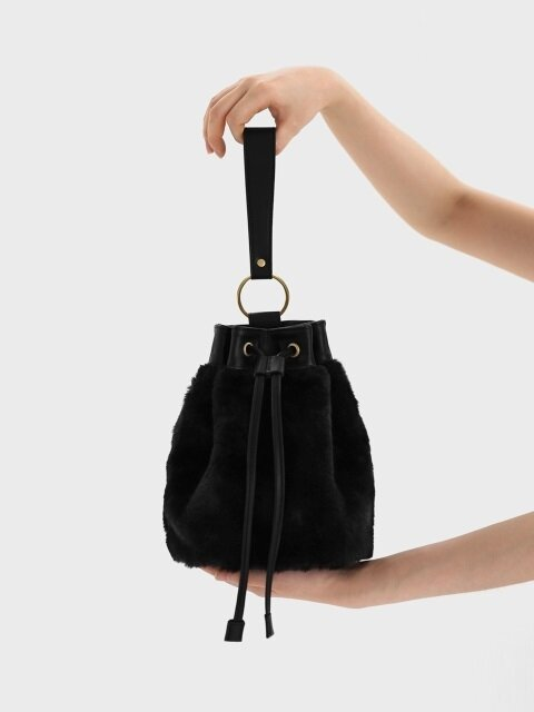 BOWL BAG / RING STRAP / FUR / BLACK (숄더 스트랩 제공)