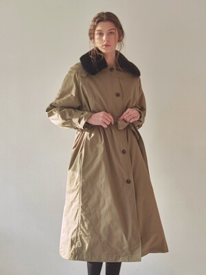 FUR MILITARY PADDING COAT_KHAKI