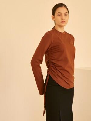 19SS SIDE STRING SHIRRING TOP BROWN