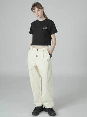 Cursor point cotton pants-ivory