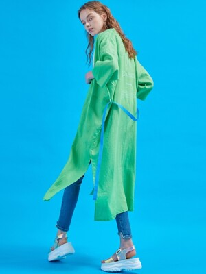 린넨 Serenity long robe [Summer green]