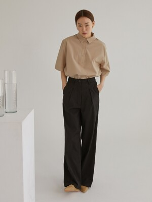 Linen straight pants_Black
