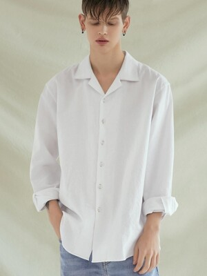 LOOSE-FIT OPEN COLLAR LINEN SHIRTS_WHITE
