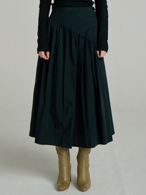 Shirring Long Skirt_Black