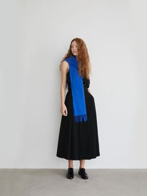 19' FALL_Black Pleated Flannel Long Skirt