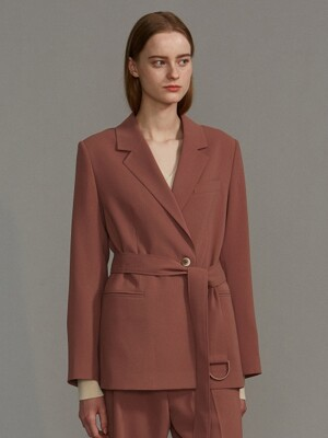 classic belt jacket (rose brown)