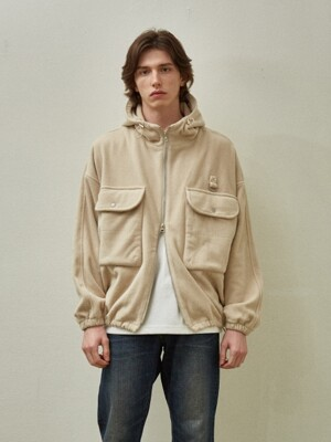 Fleece Warm Hood jacket_Beige