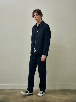 Pocket String Shirt Jacket Set Up_Black