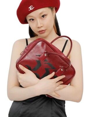 C TRIBAL SYMBOL TOTE BAG_BURGUNDY