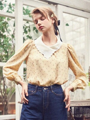 Pintuck Blouse with Floral Embroidery (Yellow)