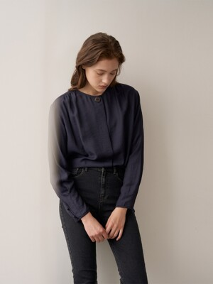 AYLIN Round Neck Belted Blouse_Navy