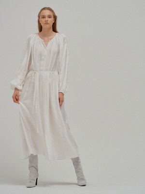 NILLY Shirred long shirt dress White