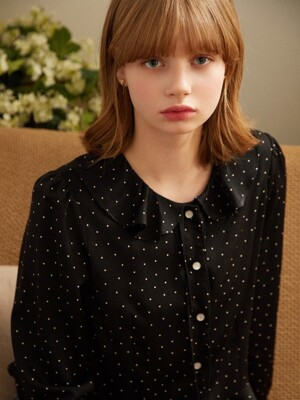 Piko Dot Blouse_Black